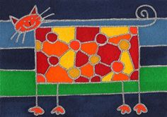 Doodle Cat by David Venne - a needlepoint kit from The Silk Mill complete with all the silks.