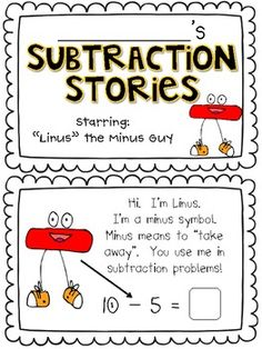 """Subtraction Stories:  A Mini Book Starring """"Linus the Minus Guy"""""""