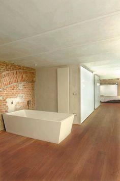 Bathroom- exposed brick