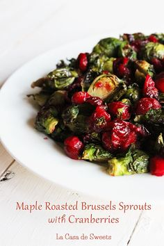 Maple Roasted Brussels Sprouts with Cranberries