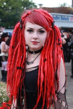 / goth girls, hair colors, style, dreadlocks, red hair, red dread, beauti, hairstyl, redhair