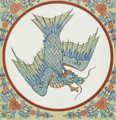 A Kakiemon Tile Edo period (late 17th century) , Japan Decorated in iron-red, green, yellow, blue and black enamels withOryu[dragon with ...