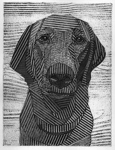 Charlie 1 - a  9x12 collograph by printmaker Bonnie Murray in her Etsy shop bonniemurrayart