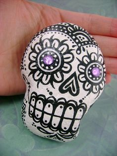 Handpainted Sugar Skull Rock No.1 - From St. Christophers Beach in Goderich, Ontario