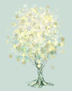 Modern Tree Art - Yellow Green - Lemon Bubble Tree - 8x10 Print. $18.00, via Etsy.