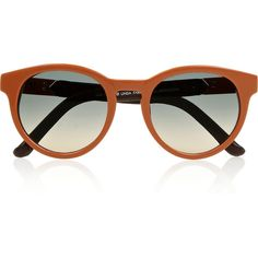 The Row Round-frame leather-trimmed acetate sunglasses found on Polyvore