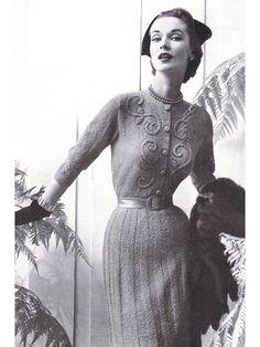 appliqued knit dress 1953