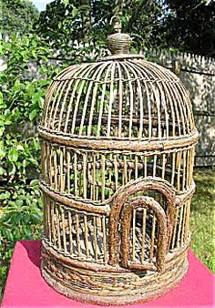 Old french wicker bird cage
