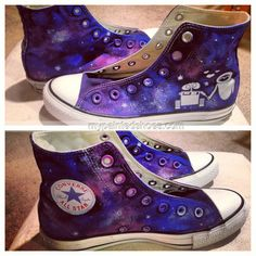 custom #galaxy hand painted shoes,High-top Painted Canvas Shoes