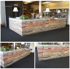 Don't know what to do with all of those extra books lying around? Why not stack them up and make a table out of them!