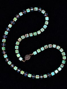 Czech rondelles and turquoise beaded necklace
