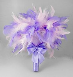 Bridal Bouquet Bridesmaids Bouquet Wedding by parfaitplumes A colourful and fun bouquet .... just right for the bride who wants something a little different for herself or her bridemaids. This bouquet is made using gorgeous Chandelle feathers..... pink and lavender mix. Finished with a lavender ribbon handle wrap with double bow .  The bouquet measures 12 inches across.