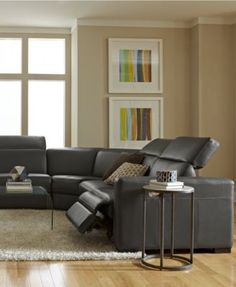 Novara Leather Reclining Sofa 3 Piece Power Recliner Sectional Powe
