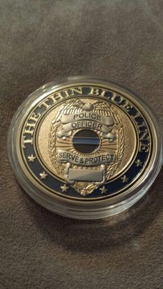 Thin blue line challenge coin front