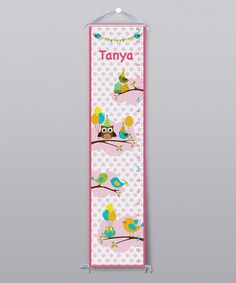 Take a look at this Pink Bird Party Personalized Growth Chart by Grape Tomato on #zulily today!