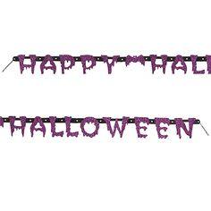 Un banner con purpurina, para dar la bienvenida a la fiesta de Halloween / A glitter banner, to welcome guests to the Halloween party