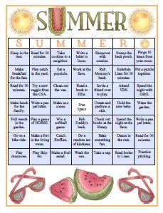 Summer Fun Bingo Card printable {blank ones, too!}
