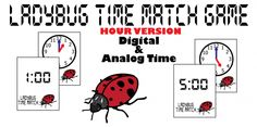 Ladybug Time Memory Match Card Game – HOUR Version - The purpose of this game is to practice time to the HOUR. Students practice time visually using analog and digital times with this memory match card game. This game can also be used as an extension of the story, The Grouchy Ladybug by Eric Carle.Includes: 1 sheet of analog time cards and 1 sheet of digital time cards. With a total of 24 cards (12 digital, 12 analog). KimTeach.com