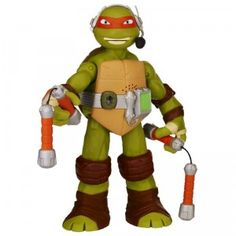 This Michelangelo figure is one of the interactive turtles and speaks different phrases when you press the button on his back.