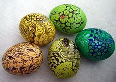 Zentangled easter eggs