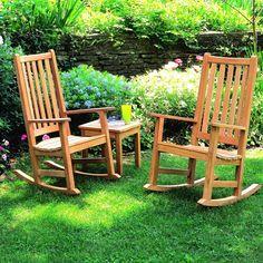 Oxford Garden Franklin 2-Person Wood Rocking Chair Patio Set