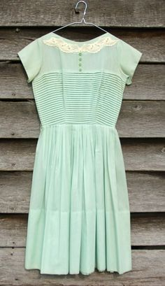 Vintage mint green dress with lace detail at collar