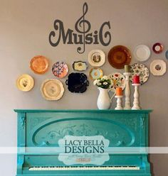 """""""Music"""" vinyl wall decal with music symbol embellishment. Popular uses are over a piano, on a wood board, or in a music room or studio. See more decals at www.lacybella.com"""