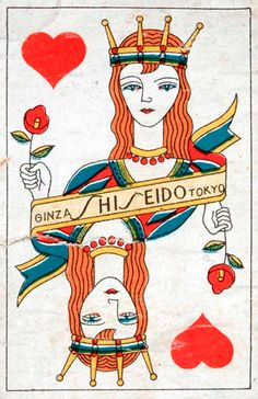 vintag japanes, play card, japanes postcard, queen of hearts