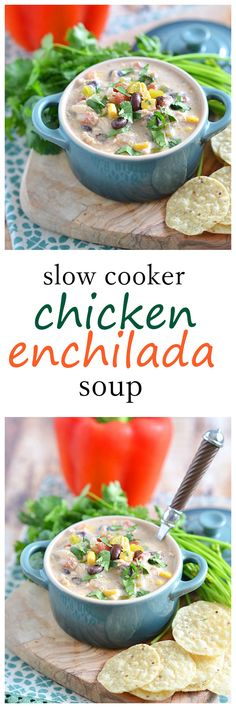 This Slow Cooker Enchilada Soup combines all of your favorite chicken enchilada flavors: Tex-Mex spiced chicken, sauteed peppers and onions, and lots of gooey cheese - without all the fuss!