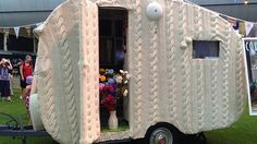 The woollen van on display at the Sydney Royal Easter Show.