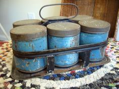 SWEET ANTIQUE SPICE TRAY CADDY w/BALE HANDLE & SIX ORIGINAL PRIMITIVE BLUE TINS