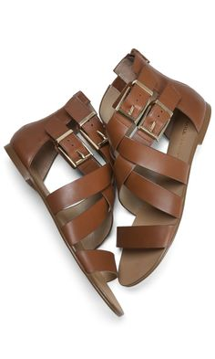Strappy Leather Flats might be better for my ankle than flip flops.