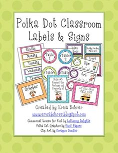 This 95 page download has everything you need to set up your polka dot themed classroom.  It includes monthly labels, days of the week, yesterday w...
