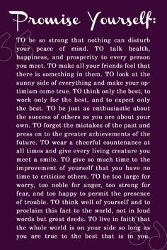 Promise Yourself: To Be So Strong