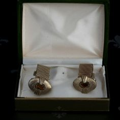 Antique Vintage Gents Gold Mesh Wraparound Cufflinks Brown Stones Original Box