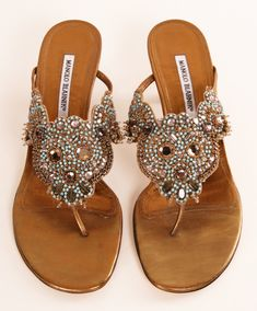 Manolo Blahnik bronze embellished heels