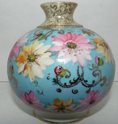 Royal Kinran Nippon Hand Painted Ball Vase hand
