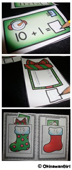 These Christmas themed interactive number booklets (1-10 / 11-20) involve completing activities on stocking fillers and then sorting them into the corresponding numbered stocking pockets.  Differentiated and in both color and black and white.  Ideal for Kinder and 1st Grade.  $
