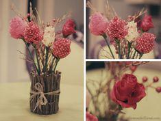 Arranjo {flores de tecido e galhos secos}