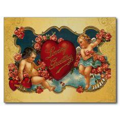 Loves Greeting Vintage Cupid Valentine postcards