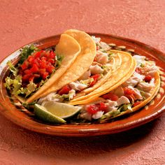 Put a twist on fish tacos by frying and pairing with the spicy heat of Creole seasoning. fish tacos, fish recip, sauces, cinnamon almonds, seafood, baja mexico, fri fish, fish top, taco recipes