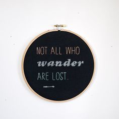 Not All Who Wander Are Lost Black Wall Hanging by RugglesMade