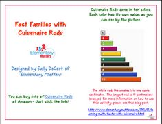 Learning Math Facts With Cuisenaire Rods and a Freebie
