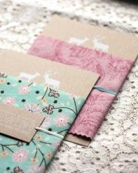 fabric wrapped invitations...love.