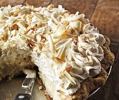 "A classic dessert from The Dahlia Bakery Cookbook. ""This coconut cream pie has made many lists as one of the best pies in America. The pie will be rewarded when you taste its silky, coconut-y filling topped with clouds of vanilla whipped cream and showered with crunchy toasted coconut."" Food Recipes, Cream Pies, Pie Crusts, Coconut Cream Pie, Coconut Milk, Dahlia Bakeri, Pie Recipes, Whipped Cream, Dessert"