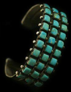 Large Vintage Navajo 30 Blue Gem Turquoise Stone Row Bracelet