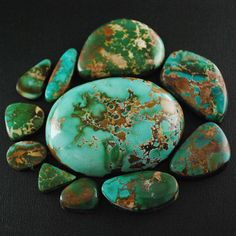 Royston turquoise is known for its beautiful deep green to rich light blue colors. These unique color ranges are what make this stone so special. Royston stones are often two-tone, displaying both dark and light green and sometimes blue. Royston has a heavy matrix ranging from dark brown to gold in color. This matrix makes for beautiful combinations with the color variations of the stone. Royston turquoise is considered very collectible and a good investment.