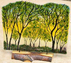 Sunlit Summer Trees Aspen Wood Base Home Decor Wedding Anniversary Seasonal