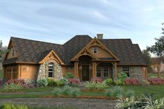 2100 square foot mountain style home with craftsman details.  Plan 120-162.