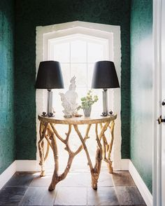 Traditional Hallway: Malachite wallpaper in an entryway.